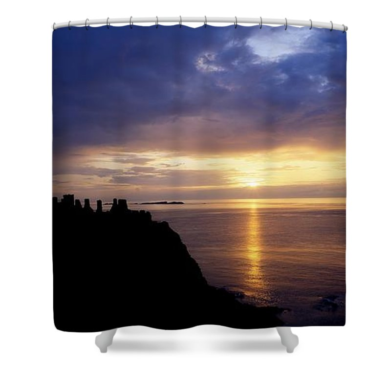Antrim Shower Curtain featuring the photograph Dunluce Castle At Sunset, Co Antrim by The Irish Image Collection