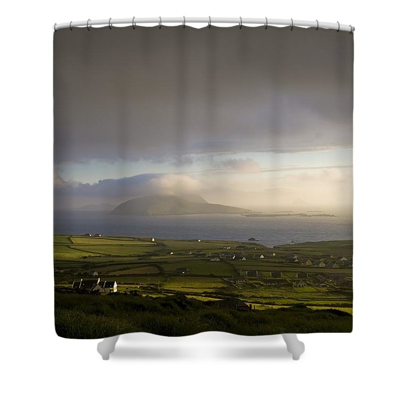 Blasket Islands Shower Curtain featuring the photograph Dunquin, County Kerry, Ireland Vista Of by Peter McCabe