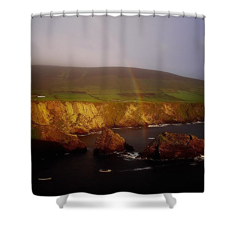 Dingle Peninsula Shower Curtain featuring the photograph Dunquin Harbour, Dingle Peninsula,co by The Irish Image Collection