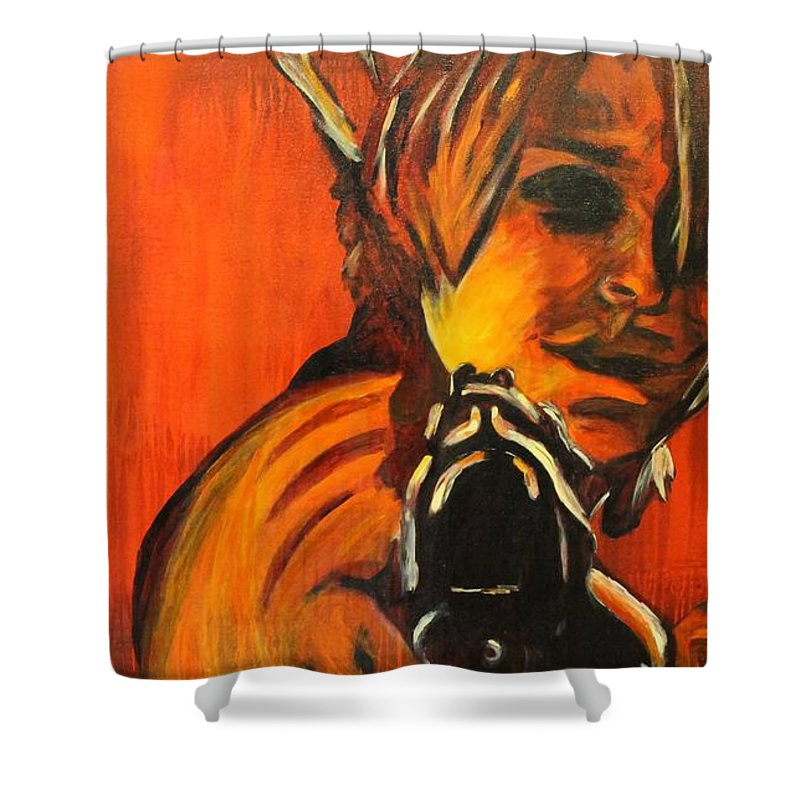 Movie Shower Curtain featuring the painting Dust Up by Steven Dopka