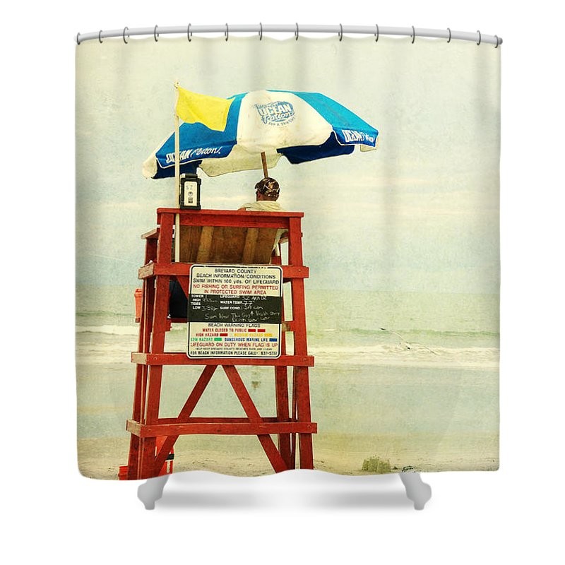 Beach Shower Curtain featuring the photograph Duty Time by Susanne Van Hulst
