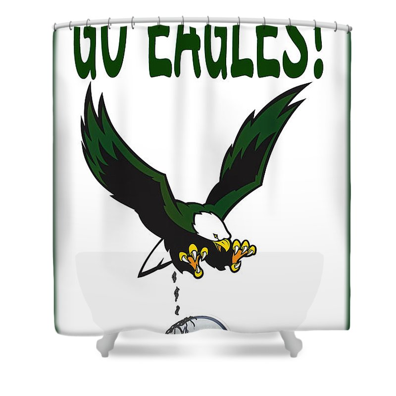 Football Shower Curtain featuring the digital art Eagles Vs Dallas by Bill Cannon