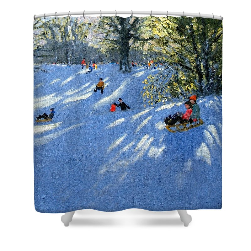 Sledging Shower Curtain featuring the painting Early Snow by Andrew Macara