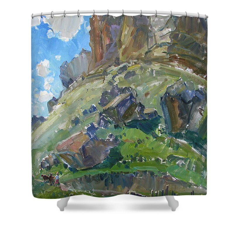 Plein Air Shower Curtain featuring the painting Earth And Sky by Juliya Zhukova
