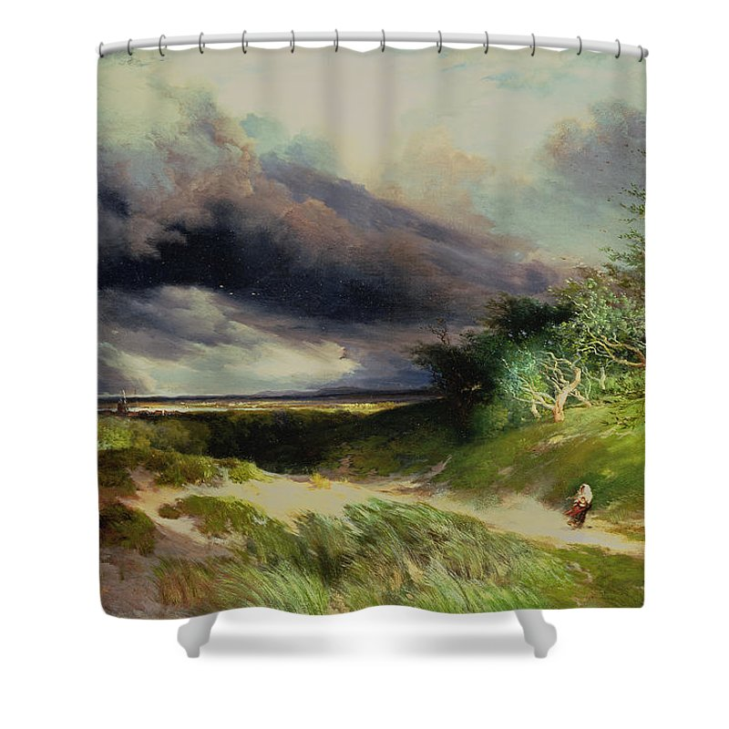 East Hampton Shower Curtain featuring the painting East Hamptonlong Island Sand Dunes by Thomas Moran