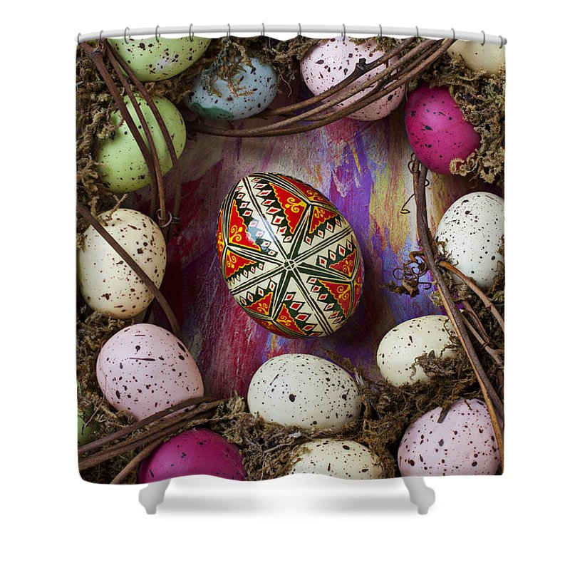 Easter Shower Curtain featuring the photograph Easter Egg With Wreath by Garry Gay