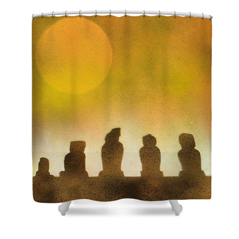 Easter Shower Curtain featuring the painting Easter Island by Hakon Soreide