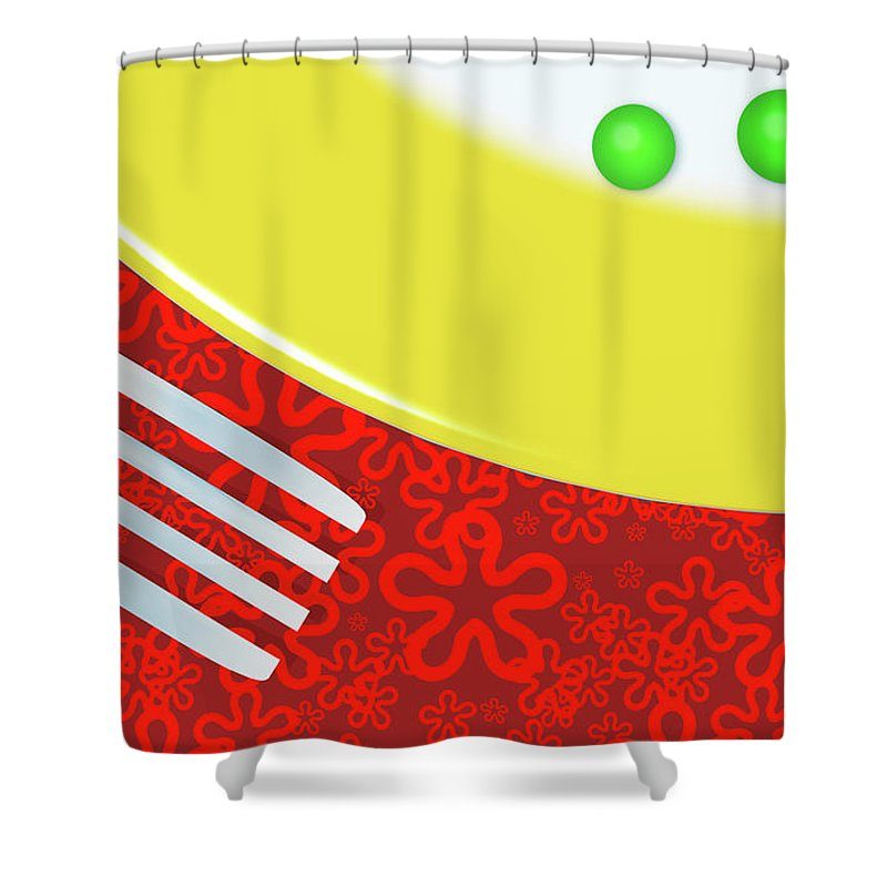 Minimalism Shower Curtain featuring the digital art Eat Your Peas by Richard Rizzo