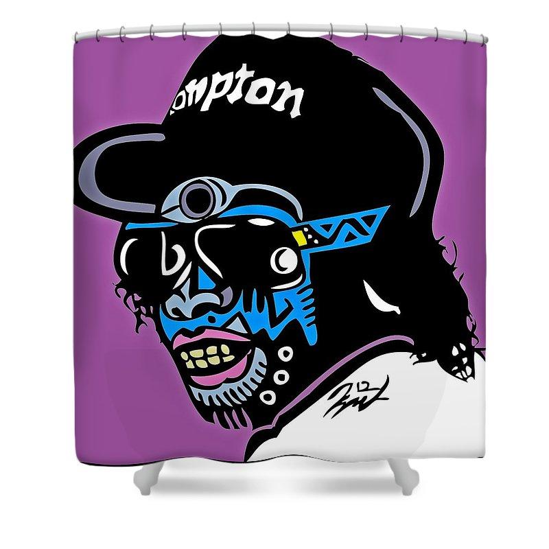 Eazye Shower Curtain featuring the digital art Eazy E Full Color by Kamoni Khem