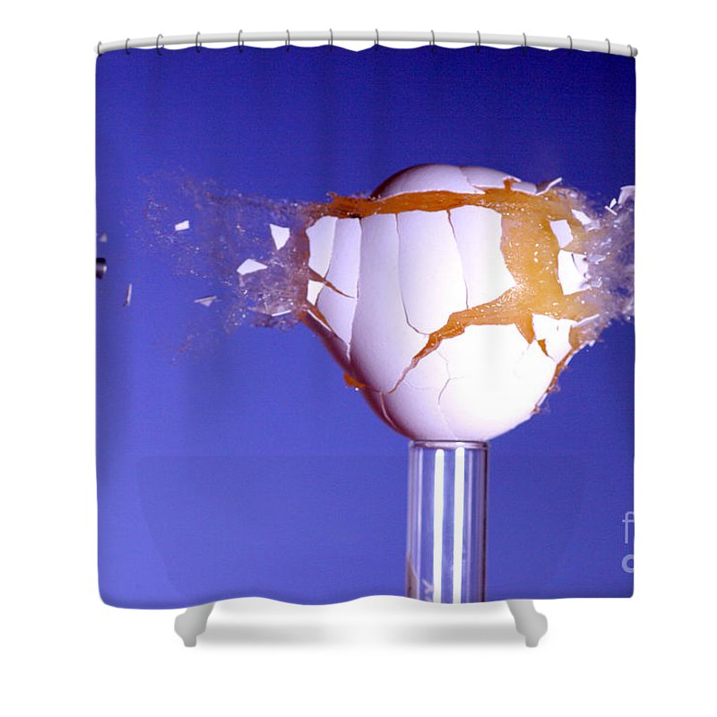 High-speed Shower Curtain featuring the photograph Egg Hit By A Bullet by Ted Kinsman