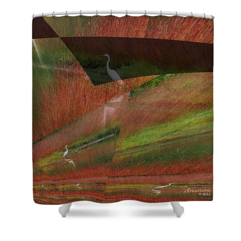 Bird Shower Curtain featuring the photograph Egret Puzzle by Ericamaxine Price