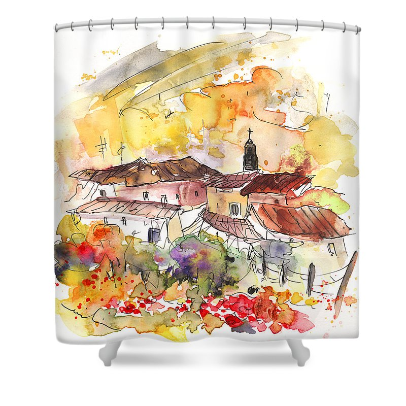 Travel Shower Curtain featuring the painting El Alcornocal 06 by Miki De Goodaboom