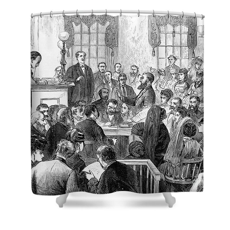 1871 Shower Curtain featuring the photograph Elizabeth Wharton Trial by Granger