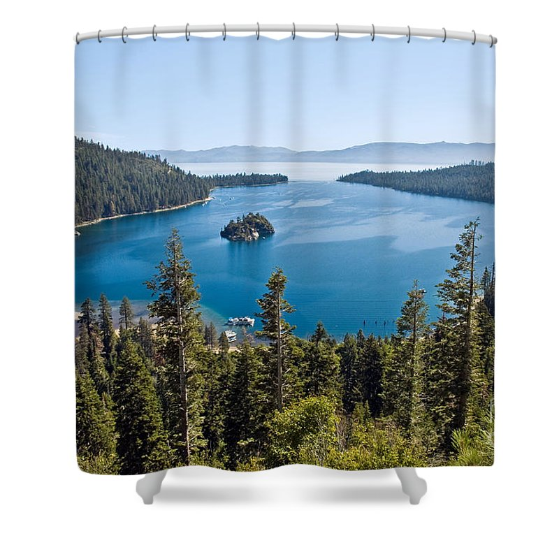 Ship Shower Curtain featuring the photograph Emerald Bay Morning by Jim Chamberlain