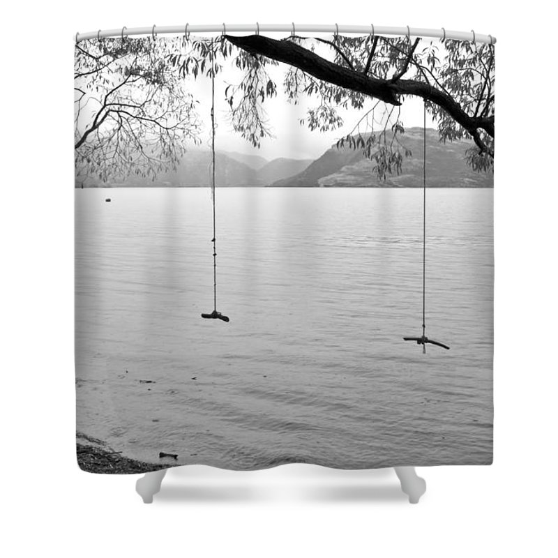 Rainy Day Shower Curtain featuring the photograph Empty Swings In The Rain by Carole Lloyd