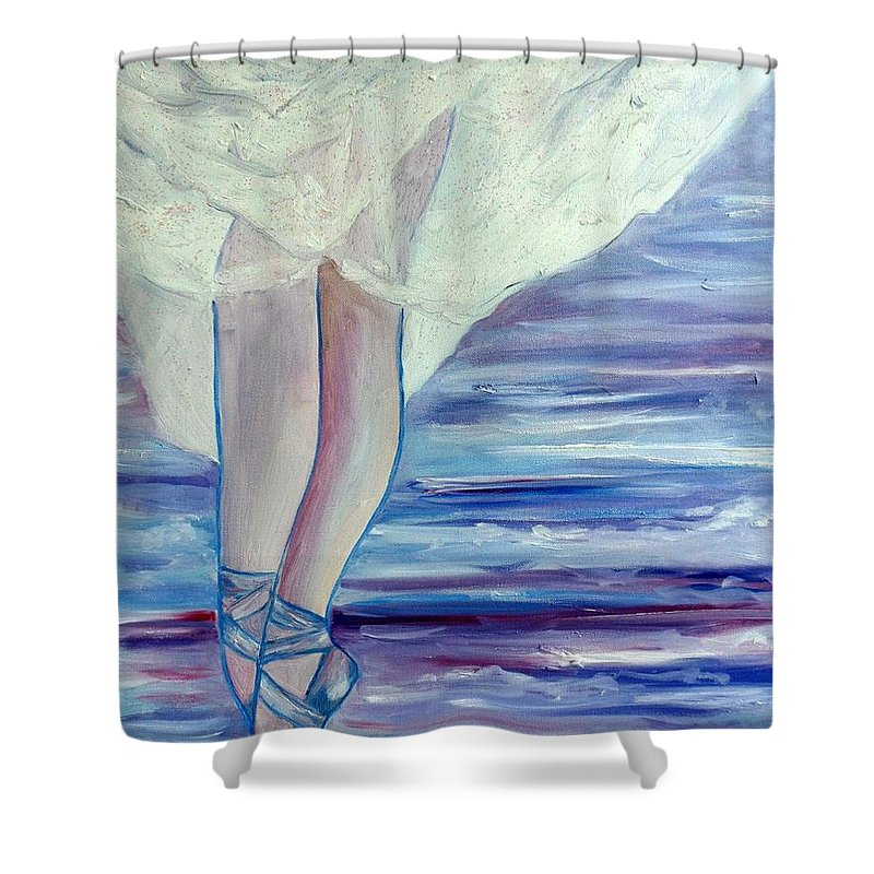 Ballet Shower Curtain featuring the painting En Pointe by Julie Brugh Riffey