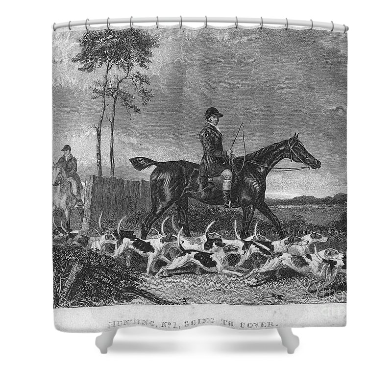 1832 Shower Curtain featuring the photograph England: Fox Hunt, 1832 by Granger