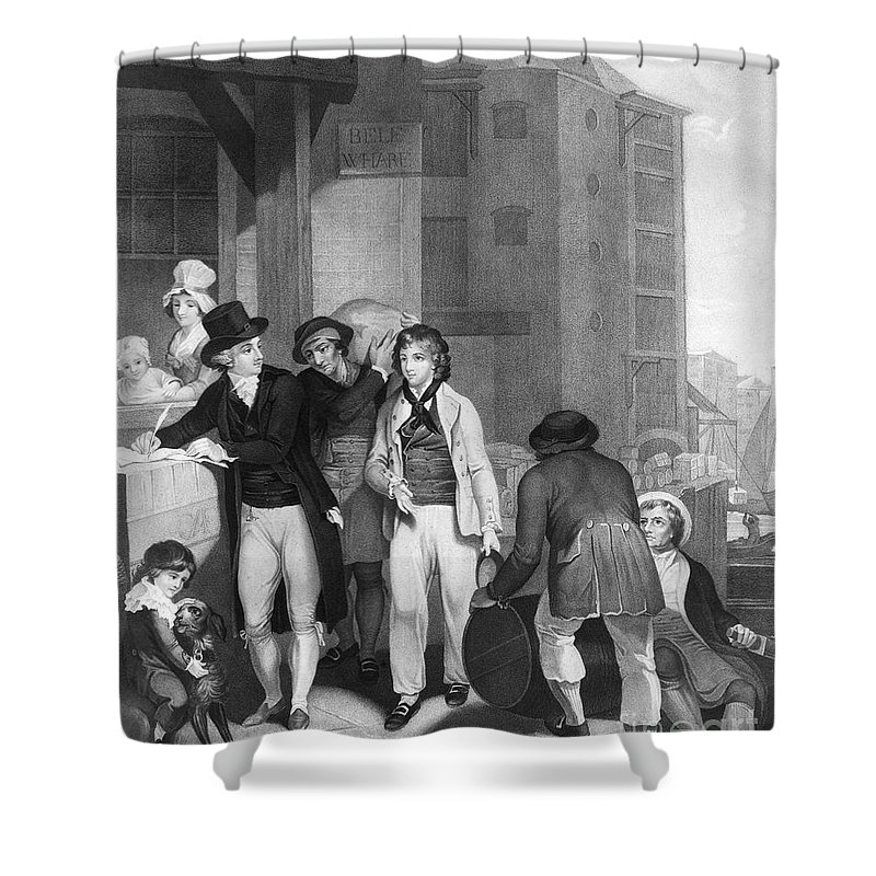 1800 Shower Curtain featuring the photograph England: Merchant, 1800 by Granger