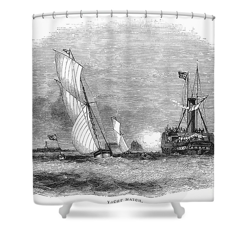 1843 Shower Curtain featuring the photograph England: Yacht Race, 1843 by Granger