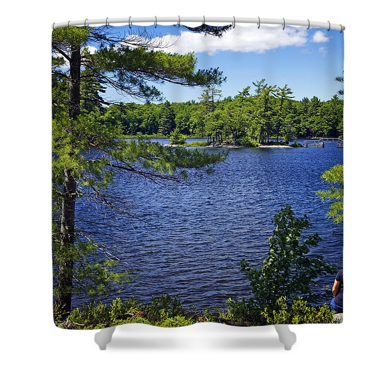 Bridges Shower Curtain featuring the photograph Enjoying The Lake by Phill Doherty