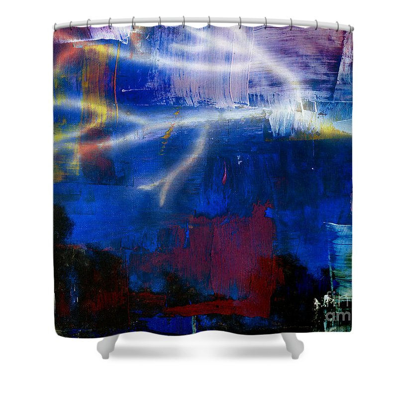 Lightening Shower Curtain featuring the mixed media Enlightened by Beverly Restelle