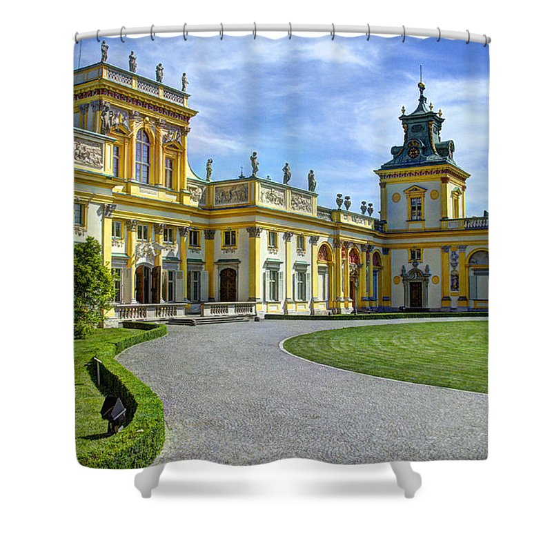 Wilanow Palace Shower Curtain featuring the photograph Entrance To Wilanow Palace - Warsaw by Jon Berghoff