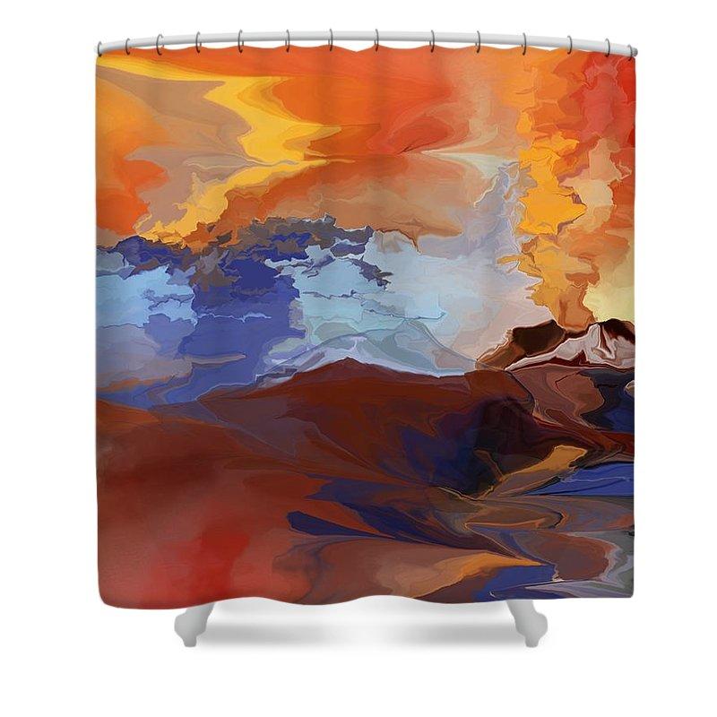Fine Art Shower Curtain featuring the digital art Eruption by David Lane