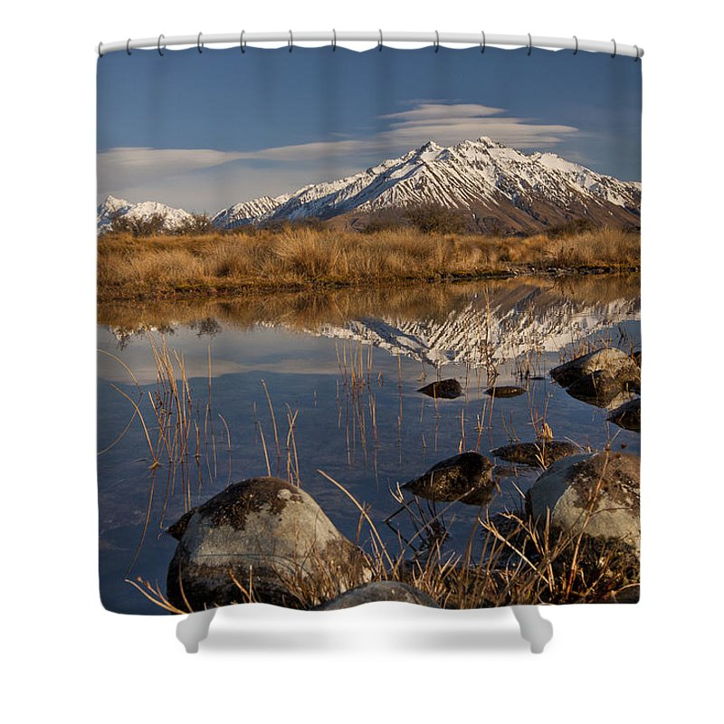 Hhh Shower Curtain featuring the photograph Erwhon Station Reflection In Branch by Colin Monteath