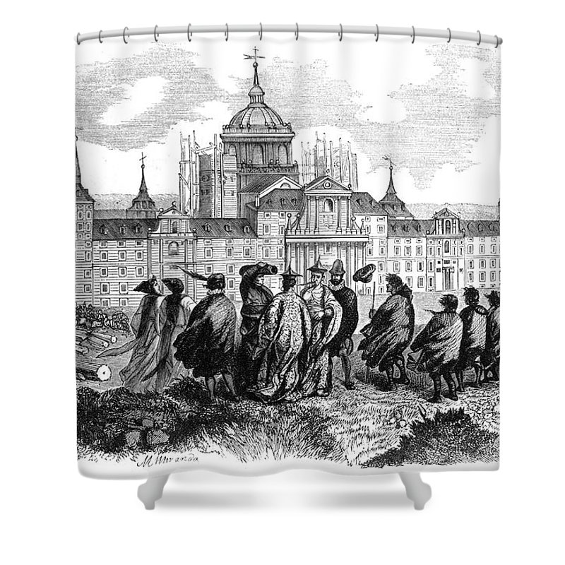 1860 Shower Curtain featuring the photograph Escorial: Japanese Visitors by Granger