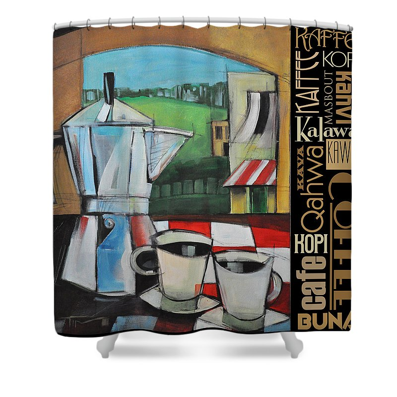 Coffee Shower Curtain Featuring The Painting Espresso Languages Poster By Tim Nyberg