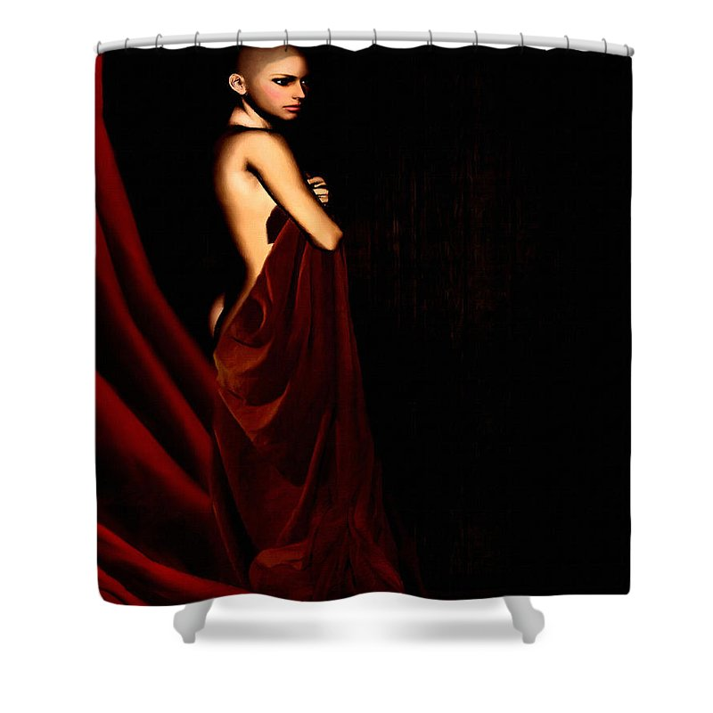 Breast Cancer Shower Curtain featuring the digital art Eternal Optimism by Lourry Legarde