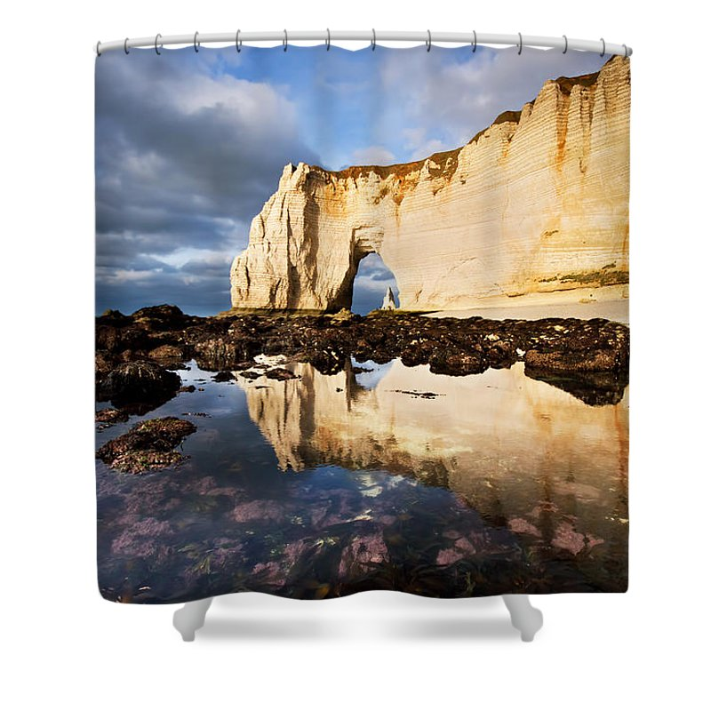 Atalntic Shower Curtain featuring the photograph Etretat Haute-normandie by Mircea Costina Photography