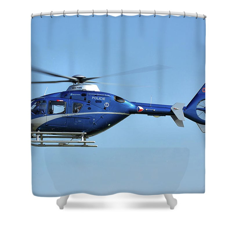 Eurocopter Ec135 Ok-bye Czech Republic Police Nato Air Days Ostrava September 2011 Helicopter Aircraft Airplane Aeroplane Shower Curtain featuring the photograph Eurocopter Ec135 by Tim Beach