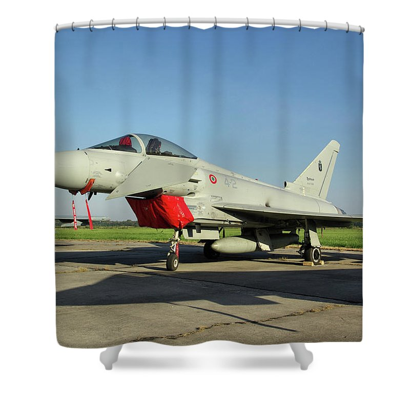 Eurofighter Ef2000 Typhoon Mm7303 Italian French Air Force Italy Nato Days Ostrava Czech Republic September 2011 Jet Fighter Aircraft Aeroplane Airplane Warplane Shower Curtain featuring the photograph Eurofighter Ef2000 Typhoon by Tim Beach