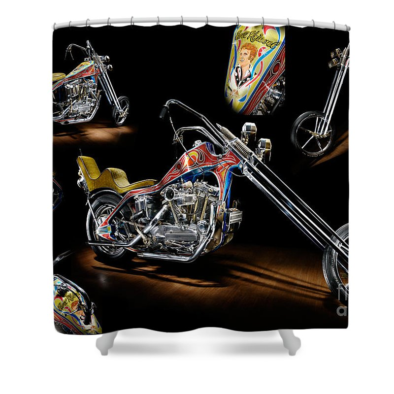 Harley Shower Curtain featuring the photograph Evel Knievel Harley-davidson Chopper by Frank Kletschkus