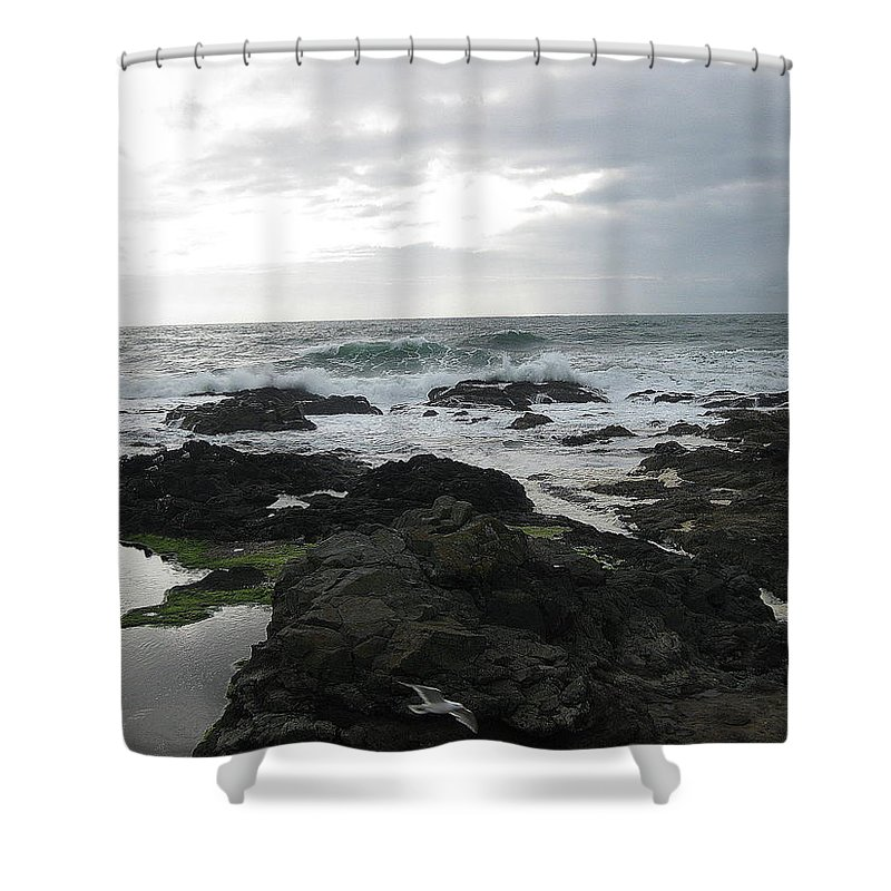 Evening Shower Curtain featuring the photograph Evening Oceanview by Linda Hutchins