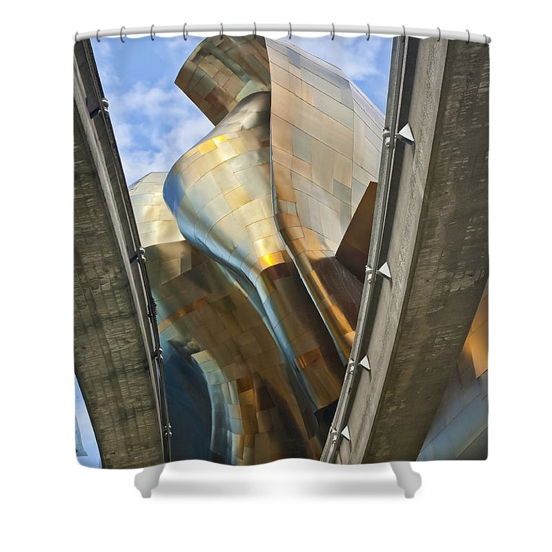 Experience Music Project Shower Curtain featuring the photograph Experience Music Project Number Five by Chris Dutton