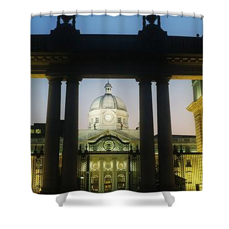 Architecture Shower Curtain featuring the photograph Facade Of A Government Building Lit Up by The Irish Image Collection