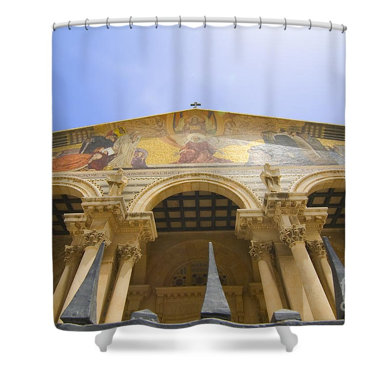 Psi Shower Curtain featuring the photograph facade of Church of all Nations Jerusalem by Ilan Rosen