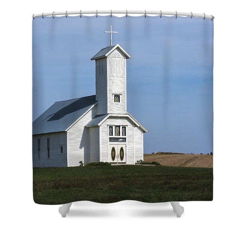 Church Shower Curtain featuring the photograph Faith On The Prairie by Edward Peterson