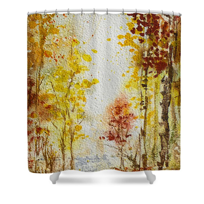 Fall Shower Curtain featuring the painting Fall Tree In Autumn Forest by Irina Sztukowski