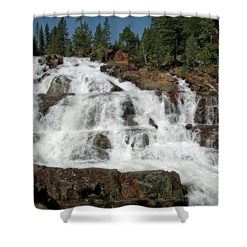 Usa Shower Curtain featuring the photograph Falls Glen Alpine Falls Tahoe by LeeAnn McLaneGoetz McLaneGoetzStudioLLCcom