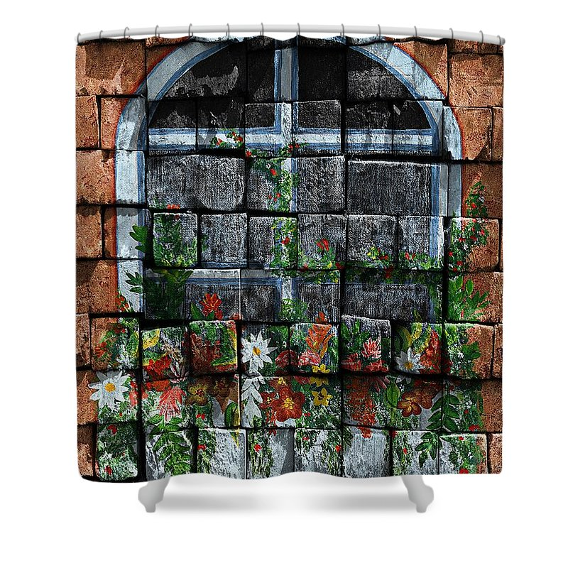 False Window Shower Curtain featuring the digital art False Windowbox by Barbara Griffin
