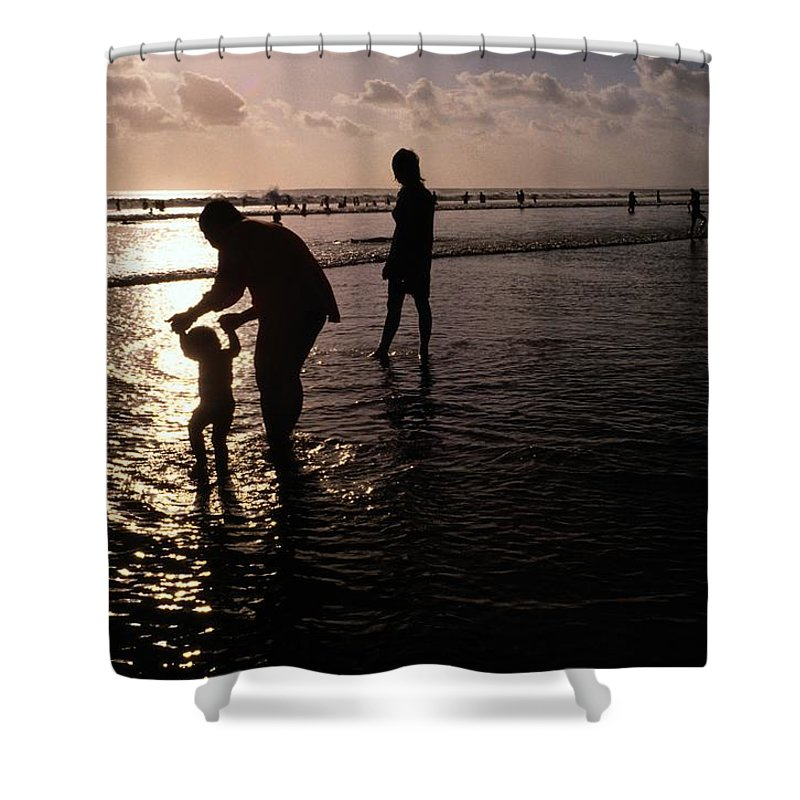 Bali Shower Curtain featuring the photograph Families Play In A Shallow Lagoon by Michael Nichols