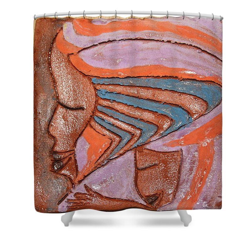 Jesus Shower Curtain featuring the ceramic art Family 13 - Tile by Gloria Ssali