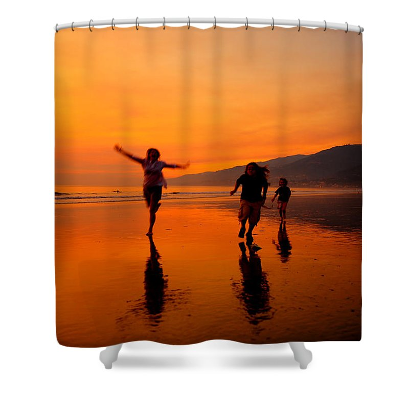 Photography Shower Curtain Featuring The Photograph Family Running In Beach At Sunset By Jorge Fajl