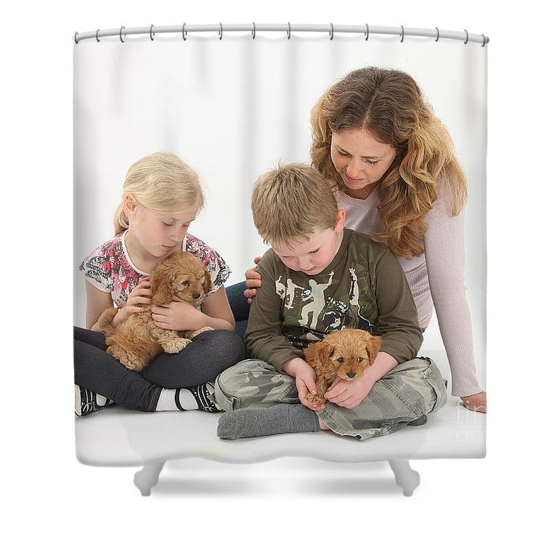 Animal Shower Curtain featuring the photograph Family With Cockerpoo Pups by Mark Taylor