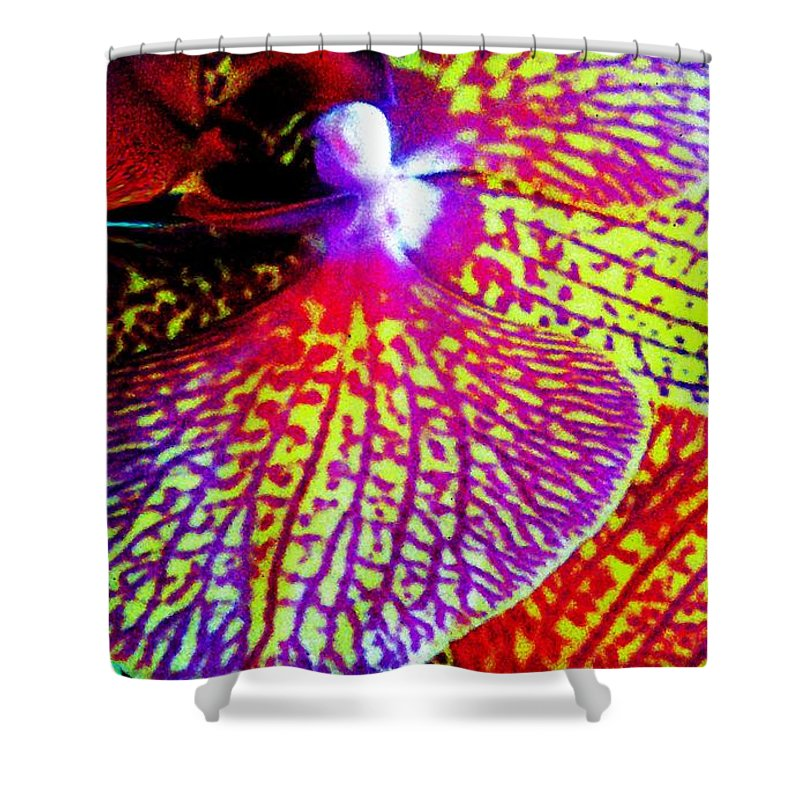 Digital Shower Curtain featuring the painting Fantasy Orchid 1 by Renate Nadi Wesley