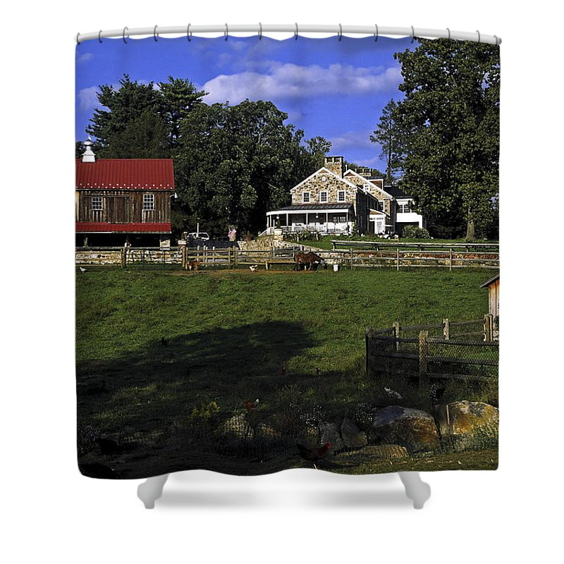 Large Barn Shower Curtain featuring the photograph Farm Scene by Sally Weigand