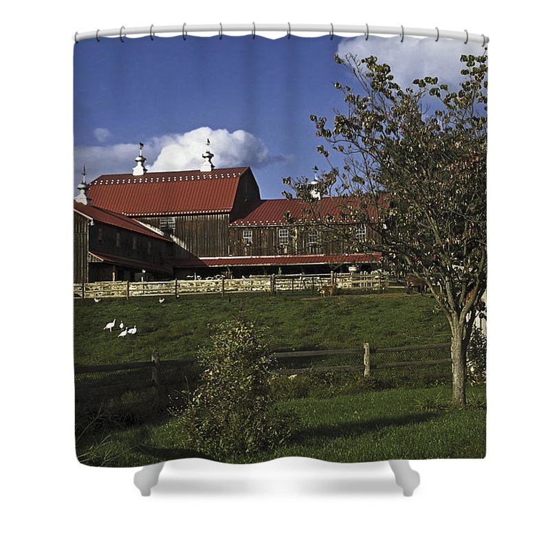 Large Wood Barn Shower Curtain featuring the photograph Farm Scene With Barn by Sally Weigand
